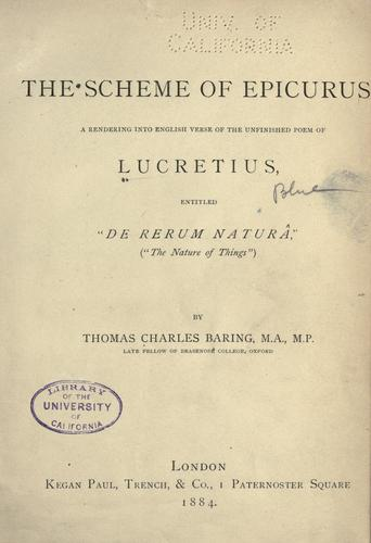 The scheme of Epicurus