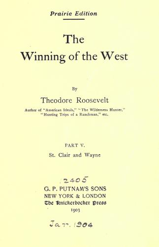 Download The winning of the West.