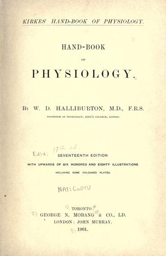 Hand-book of physiology.