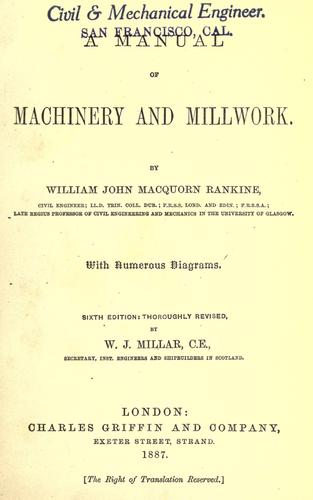 A manual of machinery and millwork.