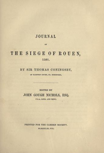 Journal of the siege of Rouen, 1591