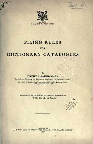 Filing rules for dictionary catalogues.