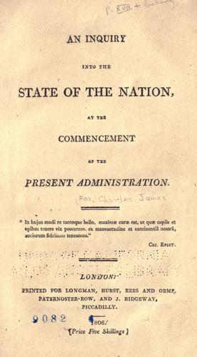 An inquiry into the state of the nation