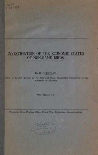 Investigation of the economic status of non-game birds by Bryant, H. C.
