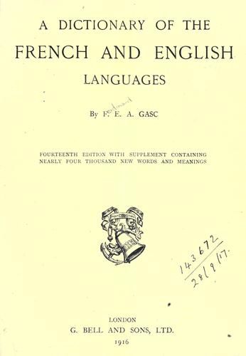 Download A dictionary of the French and English languages.