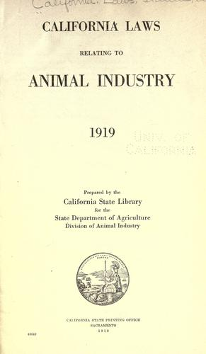 Download California laws relating to animal industry