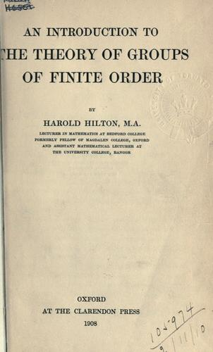 Download An introduction to the theory of groups of finite order.