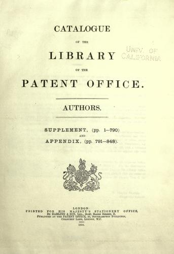 Download Catalogue of the library of the Patent office.