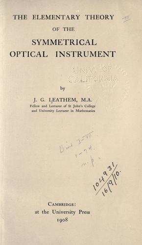 Download The elementary theory of the symmetrical optical instrument