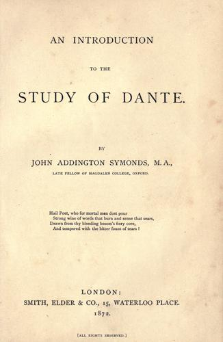 Download An introduction to the study of Dante.