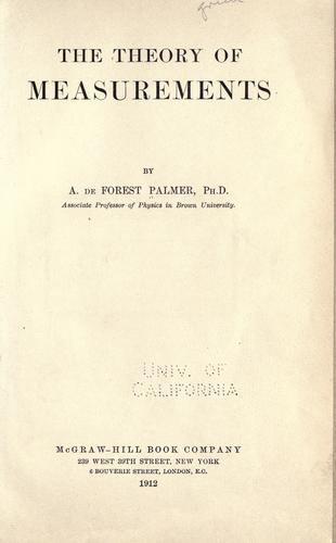 The theory of measurements by Albert de Forest Palmer