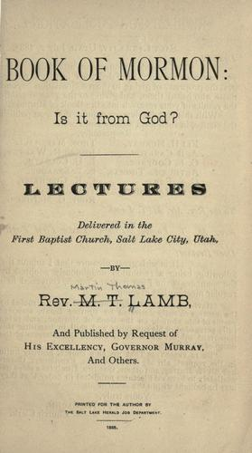 Book of Mormon by M. T. Lamb