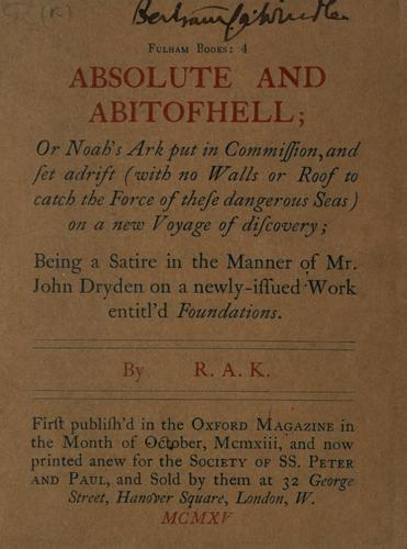 Absolute and abitofhell by Ronald Arbuthnott Knox