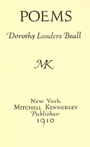 Poems by Dorothy Landers Beall