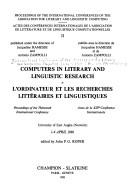 Computers in literary and linguistic research by International Conference of the Association for Literary and Linguistic Computing (13th 1986 University of East Anglia)